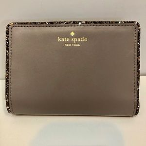 New Kate Spade Gray/Rose Leather Wallet W/ Glitter